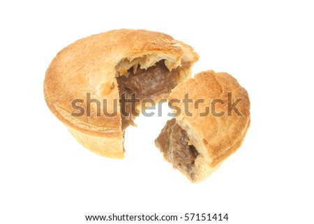 Meat pie with a slice cut out isolated on white - stock photo