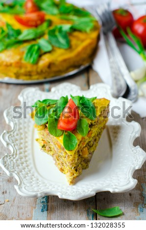 Meat pie with spinach - stock photo