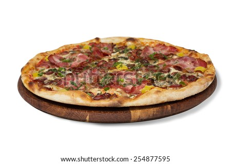 meat  pizza   on a white background isolated green, onions, - stock photo