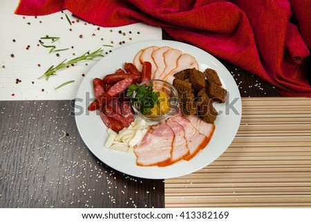 meat plate. meat appetizer. - stock photo