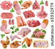 Meat products collection set,  isolated on white background - stock photo