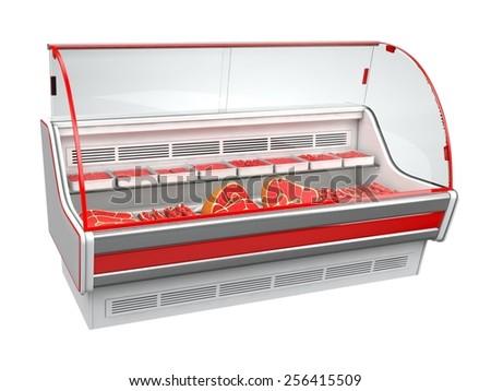 Meat refrigerator showcase - stock photo