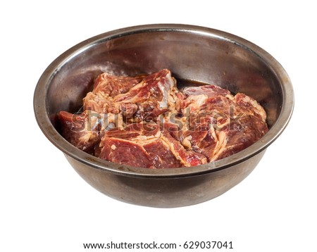 Meat Ribeye In Spices With Worcestershire Sauce Honey And Coriander In The Steel Bowl Isolated