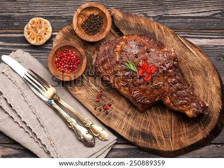 Meat Ribeye steak entrecote. Top view - stock photo