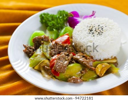 meat rice dinner set - stock photo