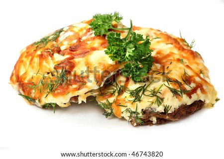 Meat rissoles baced with cheese