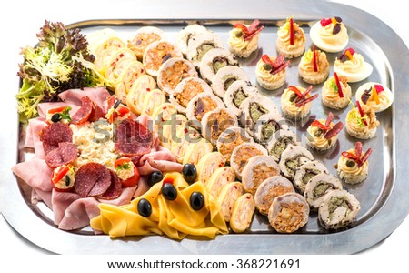 meat rolls and cheese selection with vegetable, cold cuts and starters or appetizers