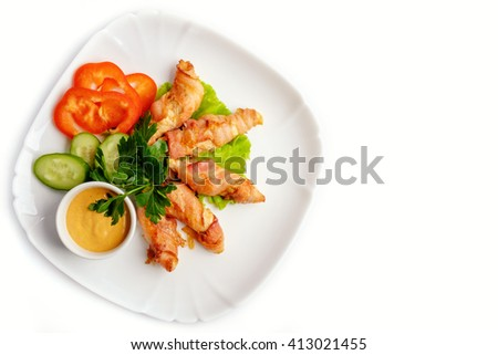 Meat rolls on a white background - stock photo