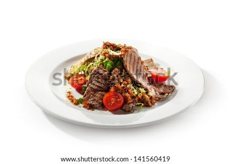 Meat Salad with BBQ Meat and Fresh Salad Leaf - stock photo