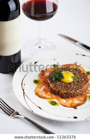 Meat Salad with Red Wine - stock photo