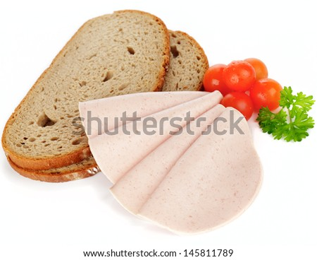 Meat sausage with bread, cherry tomatoes on white background