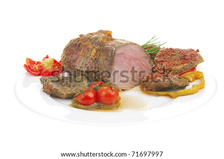 meat served with tomatoes on plate over white