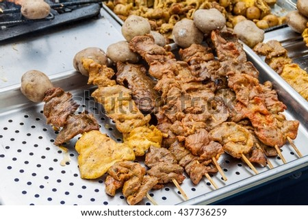 Meat skewers at a street stall in Popayan, Colombia - stock photo