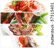 meat sorts on white with raw vegetables - stock photo