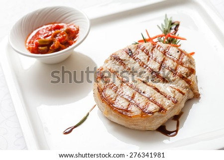 meat steak with sauce - stock photo