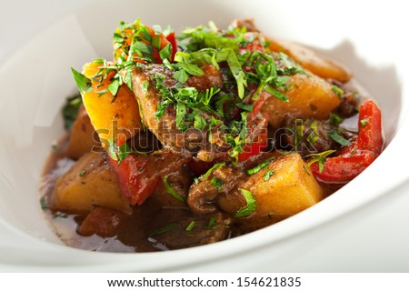 Meat Stew with Vegetables and Potatoes - stock photo