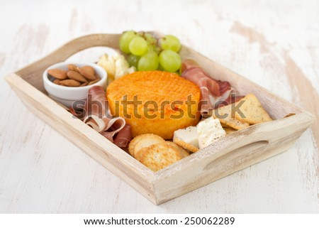 meat with cheese and fruits - stock photo