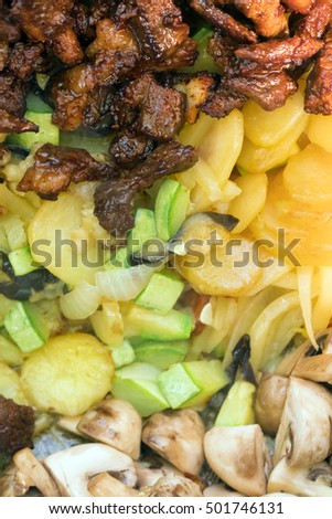Meat with potatoes and mushrooms, background