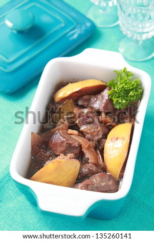 meat with quince - stock photo