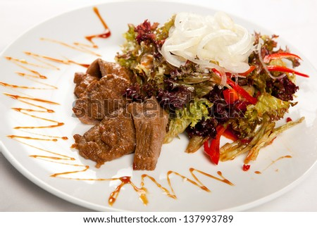 meat with vegetables and noodles - stock photo