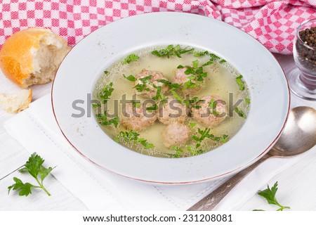 Meatball soup - stock photo
