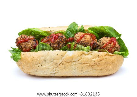Meatball Sub Sandwich from low perspective isolated on white. - stock photo