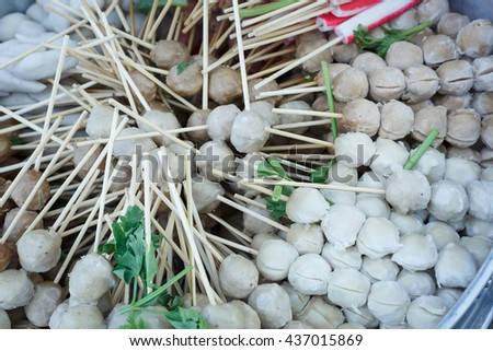 Meatball warm with steam at the market - stock photo