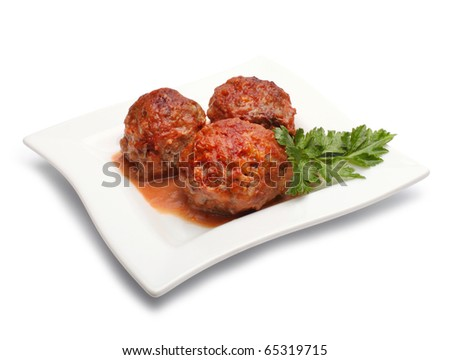 meatball with parsley - stock photo