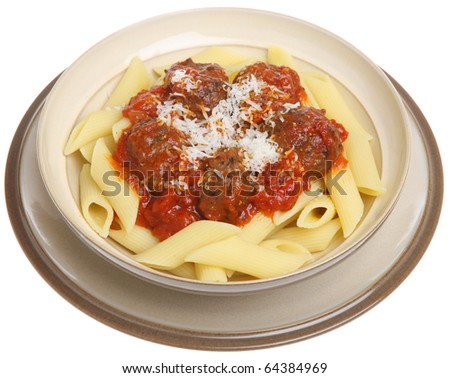 Meatballs in tomato sauce with rigatoni pasta. - stock photo