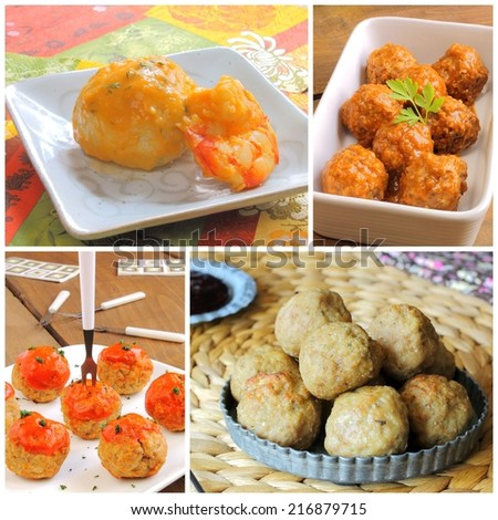 Meatballs recipe collage - stock photo
