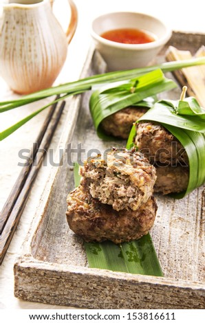 meatballs with chili sauce - stock photo