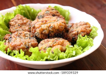 meatballs with green - stock photo