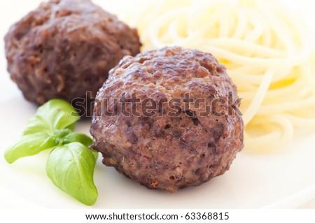 Meatballs with Spaghetti - stock photo