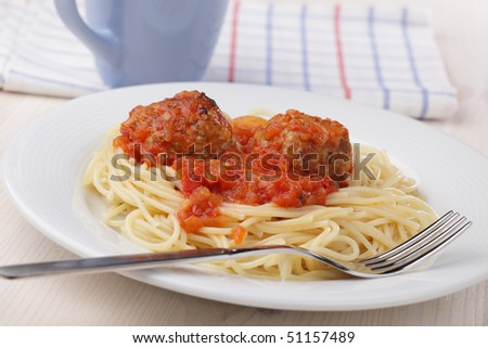 Meatballs with tomato sauce and spaghetti on white plate - stock photo