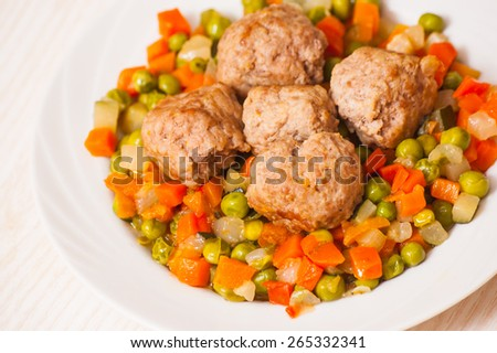 meatballs with vegetables mix - stock photo