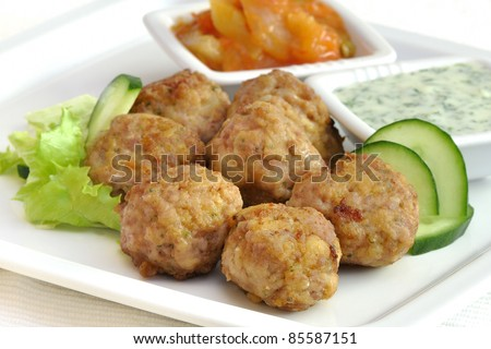meatballs with vegetables with various sauces