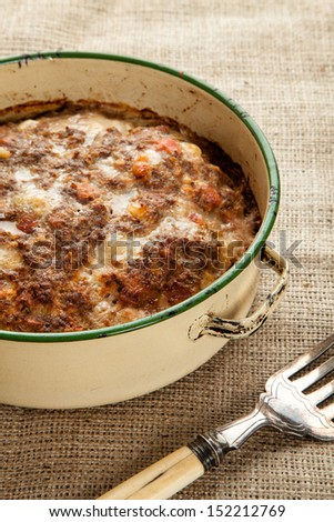 Meatloaf fresh from the oven in a circle tin - stock photo