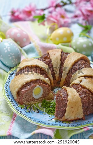 Meatloaf ring stuffed eggs for a Easter - stock photo