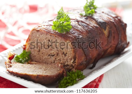 Meatloaf with bacon - stock photo