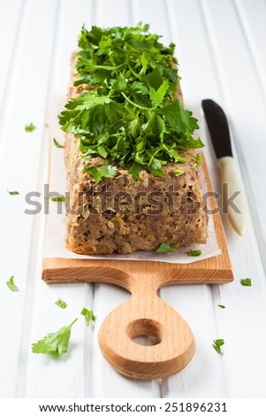 meatloaf with beef and buckwheat - stock photo