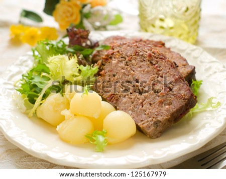 Meatloaf with spice for dinner, selective focus - stock photo