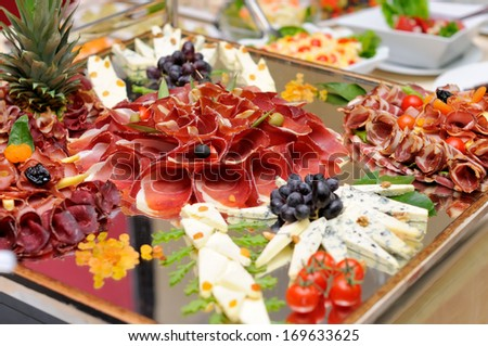 Meats and cheese selection - stock photo