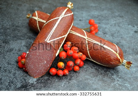 meats salami - stock photo