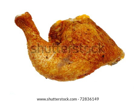 meaty oven broiled chicken drumstick isolated white background