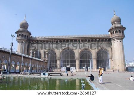 Mecca Masjid, mosque, hyderabad, andhra pradesh, india - stock photo