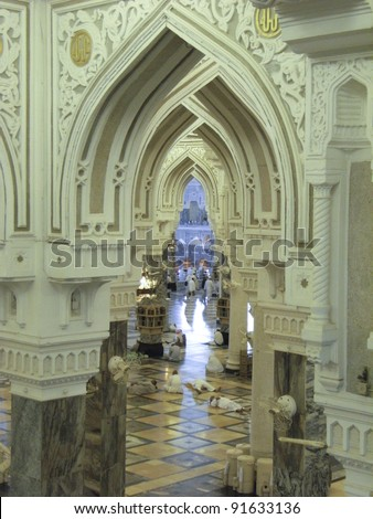MECCA, SAUDI ARABIA - JAN 5 : Interior of Masjidil Haram (Haram Mosque) on Jan 5, 2008 in Mecca, Saudi Arabia. Muslim pilgrims from all around the world perform hajj during this time.