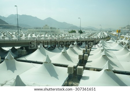 MECCA, SAUDI ARABIA - JUNE 2: Canopies for pilgrims at Mina on June 2, 2015. All canopies are built to be used during pilgrimage season.  - stock photo
