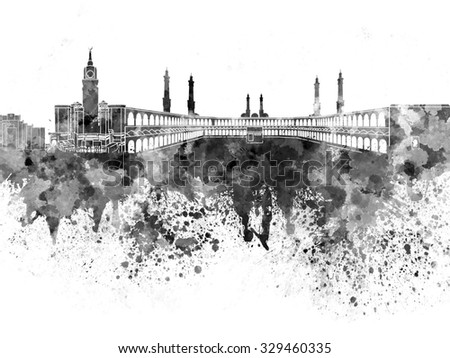 Mecca skyline in black watercolor - stock photo