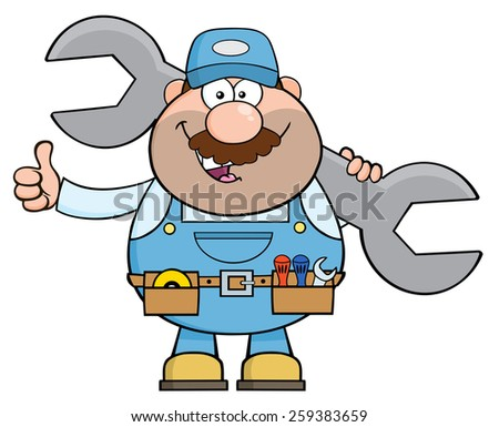 Mechanic Cartoon Character Holding Huge Wrench And Giving A Thumb Up. Raster Illustration Isolated On White - stock photo