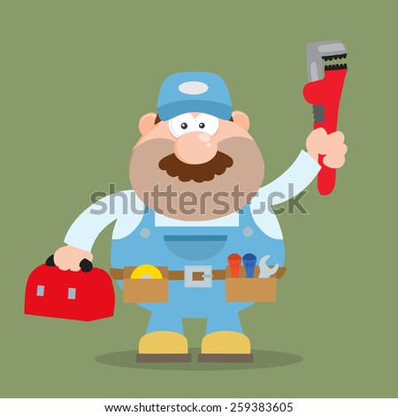 Mechanic Cartoon Character With Wrench And Tool Box Flat Style. Raster Illustration With Background - stock photo